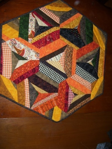 Fall hexagonal table topper. $60.00