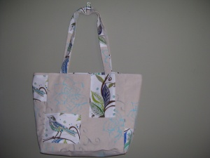 Canvas bird tote - blue $75.00
